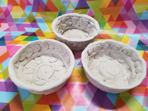 Patterned Clay bowls by Creative Kids Art Club