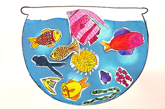 watercolur painting of a fishbowl